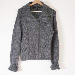 Mac and Jac Zip Up Cardigan Sweater Gray Large